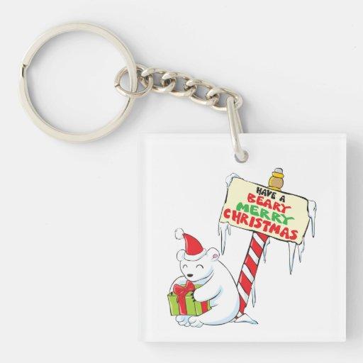 White Polar Bear Christmas North Pole Custom Bags Acrylic Keychains