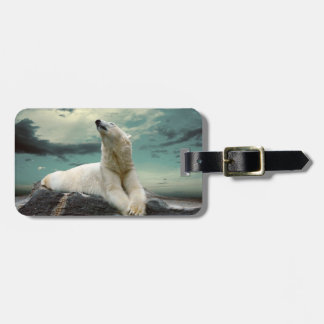 White Polar Bear Hunter on rock Luggage Tag