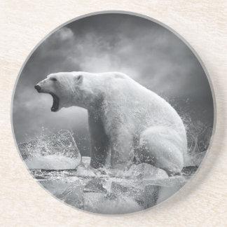 White Polar Bear Hunter on the Ice in water Coaster