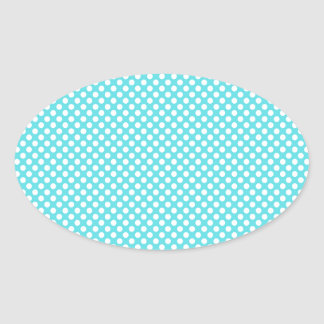 White Polka Dot On Blue Oval Sticker