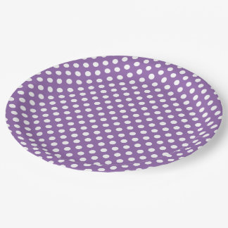 White Polka Dot on Purple 9 Inch Paper Plate