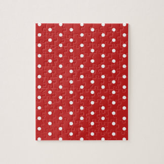 white_polka_dot_red_background pattern retro style jigsaw puzzle