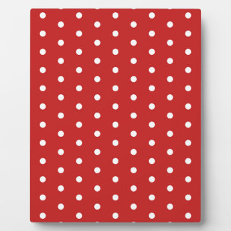 white_polka_dot_red_background pattern retro style plaque