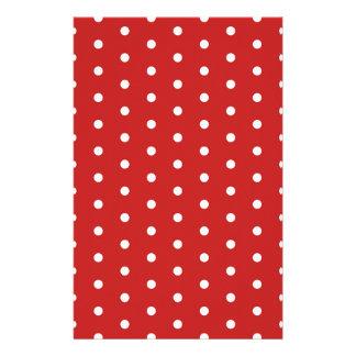 white_polka_dot_red_background pattern retro style stationery