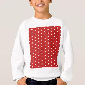 white_polka_dot_red_background pattern retro style sweatshirt