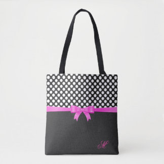 White Polka Dots And Black Leathers Look Tote Bag
