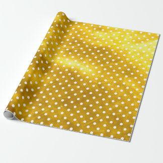 White Polka Dots and Rusty Gold Glitter Texture Wrapping Paper
