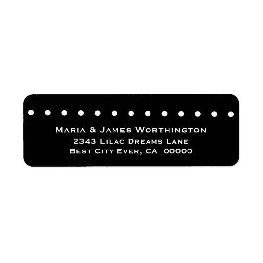 WHITE Polka Dots BLACK Background Wedding V037 Return Address Label