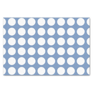 White Polka Dots Blue/Grey Tissue Paper