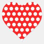 White Polka Dots Heart Sticker