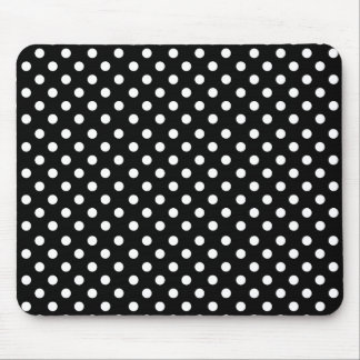 White polka dots in black mouse pad