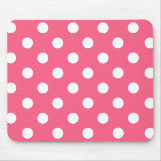 White polka dots in pink mouse pad
