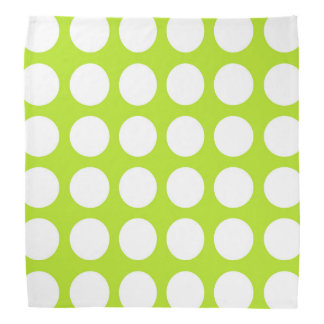 White Polka Dots Lime Green Bandana