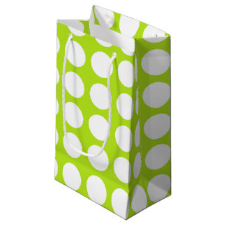 White Polka Dots Lime Green Small Gift Bag