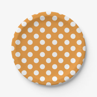 White polka dots on amber 7 inch paper plate