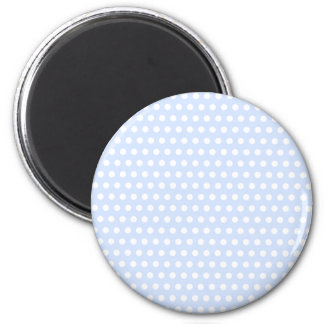 White Polka Dots on Baby Blue 6 Cm Round Magnet