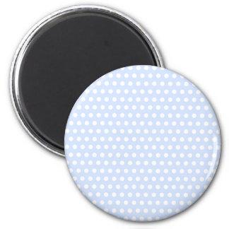 White Polka Dots on Baby Blue 6 Cm Round Magnet