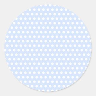 White Polka Dots on Baby Blue Round Sticker