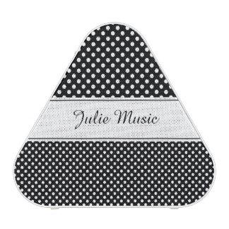 white polka dots on black