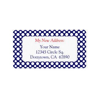 White Polka Dots on Blue Custom New Address Lables Label