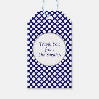 White Polka Dots on Blue Custom Thank You Tag
