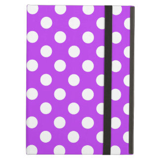 White polka dots on bright purple cover for iPad air