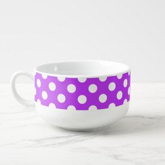 White polka dots on bright purple soup mug