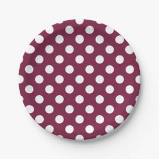 White polka dots on burgundy 7 inch paper plate