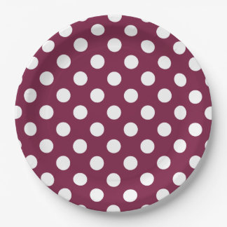 White polka dots on burgundy 9 inch paper plate