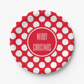 White polka dots on Christmas red custom 7 Inch Paper Plate