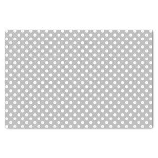 White Polka Dots on Chrome Grey Background Tissue Paper