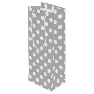 White Polka Dots on Chrome Grey Background Wine Gift Bag