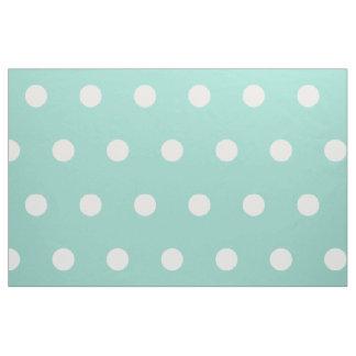 White Polka Dots on Cool Aqua Fabric