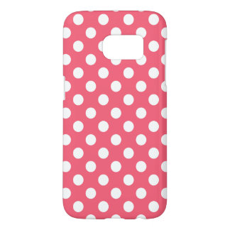 White polka dots on coral
