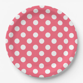 White polka dots on coral 9 inch paper plate