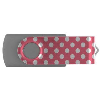 White polka dots on coral swivel USB 2.0 flash drive
