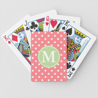 White Polka Dots on Coral With Mint Monogram Bicycle Playing Cards