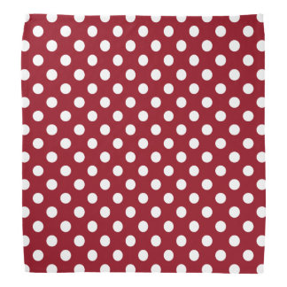 White Polka Dots on Crimson Red Bandana