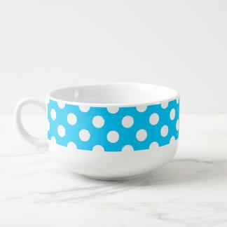 White polka dots on electric blue soup mug