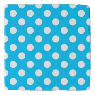 White polka dots on electric blue trivets