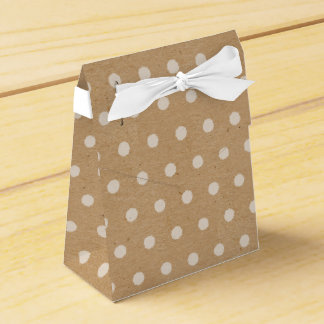 White Polka Dots On Faux Kraft Paper Background Favour Box
