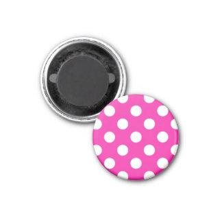 White polka dots on fuchsia magnet