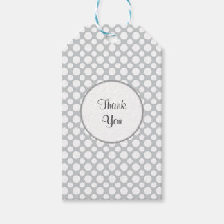 White Polka Dots on Gray Custom Thank You Tag