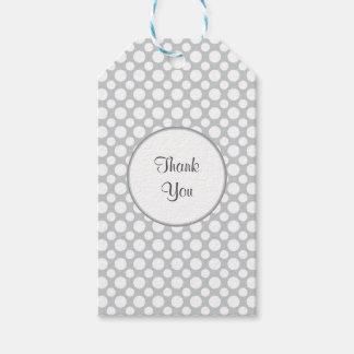 White Polka Dots on Gray Custom Thank You Tag