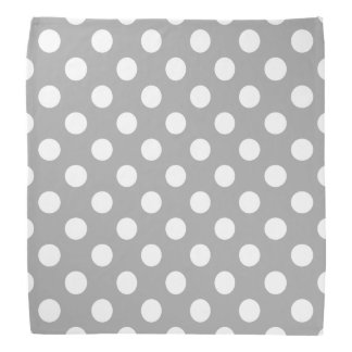 White polka dots on grey bandanas