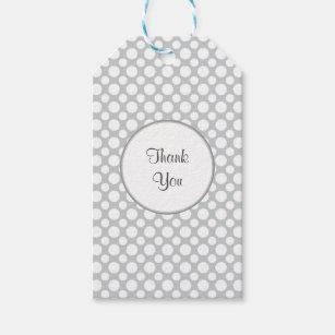 White Polka Dots on Grey Custom Thank You Tag