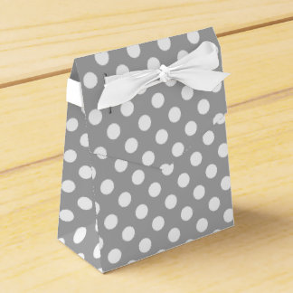 White polka dots on grey party favour boxes