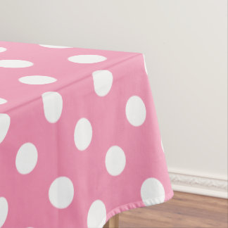White Polka Dots on Happy Pink Tablecloth