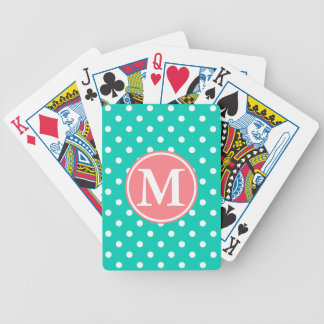 White Polka Dots on Island Sea With Coral Monogram Bicycle Playing Cards
