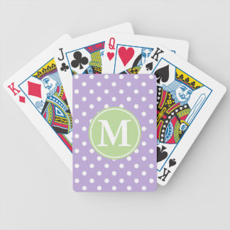 White Polka Dots on Lavender With Mint Monogram Bicycle Playing Cards